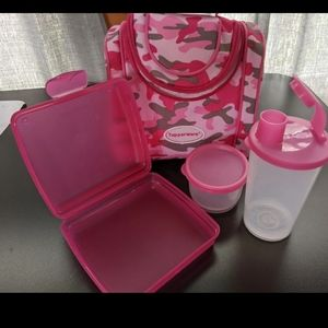 Tupperware brand pink camo lunchbag & lunch set